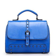 Dasion Rivet Bag New Tide Female Package Inclined Shoulder Bag Design Classic Style Restoring Ancient Ways(Blue) -- Details can be found by clicking on the image.