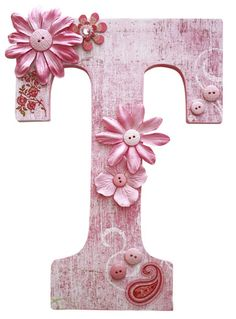 cute wooden letters. Would love these in red for Sofia. Might be able to make them using scrap book stuff.