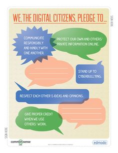 Free Technology for Teachers: A Digital Citizenship Guide from Edmodo and Common Sense Media - This would be great to put up in the classroom and to help the class come up with some good netiquette rules and goals for their own pledge. Technology Posters, Teaching Technology, Technology Integration, Educational Technology, Technology Websites, Teaching Computers, Technology Lessons, Technology Tools, Business Technology