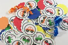 VEHICLES Confetti, Mini Tags  :  Cars, Tow Trucks, Buses, Transportation on Etsy, $7.00