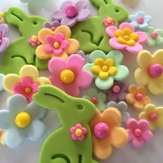 Pastel Easter Sugar Flowers Rabbits