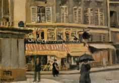 La Rue Bonaparte, Paris – 1925, by Clifford Hall (oil on board; 7 x 10 inches) A charming little panel, very much in the Impressionist style; painted by Hall on his first  trip to Paris when he was 21.