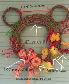 Diy blumen How i made my Fall Mickey Wreath! Tips to increase aesthetic sense of homes Home decor c Thanksgiving Crafts, Fall Crafts, Holiday Crafts, Holiday Fun, Disney Thanksgiving, Holiday Wreaths, Mickey Mouse Wreath, Mickey Mouse Crafts, Disney Diy