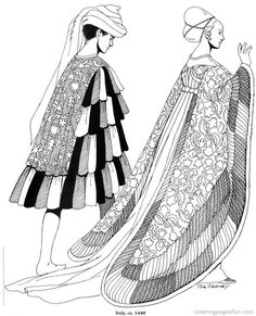 Renaissance Costumes and  Clothing Coloring Pages 9