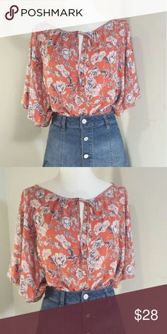 1970s INSPIRED ROSE BLOUSE This piece is a mock 1970s style blouse.  Angel-sleeves leeves Vintage inspired rose pattern and color scheme Fits S-XL  Its not Free People blouse, I picked that brand for exposure. Free People Tops Blouses