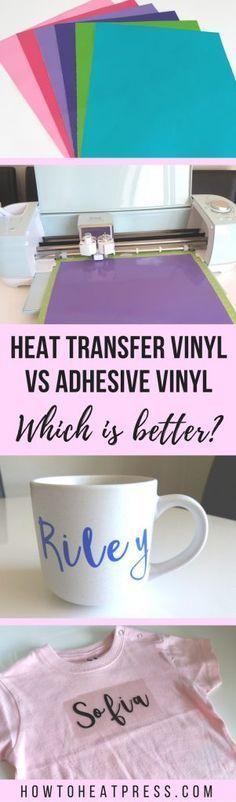 The Difference Between Heat Transfer Vinyl & Adhesive Vinyl? Heat transfer vinyl vs adhesive vinyl: which is better?Heat transfer vinyl vs adhesive vinyl: which is better? Cricut Air, Cricut Vinyl, Vinyl Crafts, Vinyl Projects, Vinyl Decor, Wood Crafts, Circuit Projects, Craft Projects, Sewing Projects