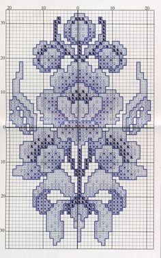 Schema punto croce Fiore Cinese1