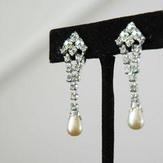 Rhinestone and pearl art deco style earrings