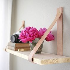 leather and pine shelving