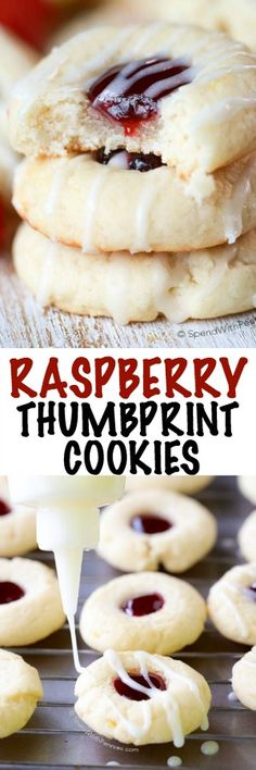 Raspberry Thumbprint Cookies are a family favorite!  A soft lemon kissed sugar cookie base filled with sweet raspberry preserves and drizzled with a fresh lemon glaze.  I am so excited to have partnered with Pillsbury to bring you this recipe because, not only are these Raspberry Thumbprint Cookies delicious, they're super easy to make!