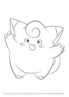How to Draw Clefairy from Pokemon - DrawingTutorials101.com