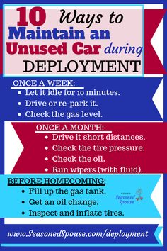 Use these tips to maintain parked cars during deployment and avoid dead batteries or flat tires! Military Deployment, Military Spouse, Military Veterans, Deployment Gifts, Military Families, Military Girlfriend, Military Love, Army Mom, My Marine