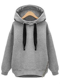 Sudadera suelta con capucha manga larga-gris