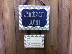 Navy and gray chevron baby boy hospital door decoration, nursery bedroom door sign, personalized baby announcement by LillouHandmade on Etsy https://www.etsy.com/listing/225844553/navy-and-gray-chevron-baby-boy-hospital