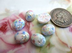 6 Vintage Pastel White 10 x 8mm Stones Cabs by FindingYourElement
