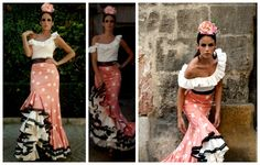 Tutorial - falda rociera con dos volantes ♥ ♥ Tutorial - Flamenco skirt with two flounces. Flamenco Costume, Flamenco Skirt, Spanish Dress, Lace Dress Styles, Trumpet Skirt, How To Make Clothes, Sewing Clothes, Argentine Tango, Dress Patterns