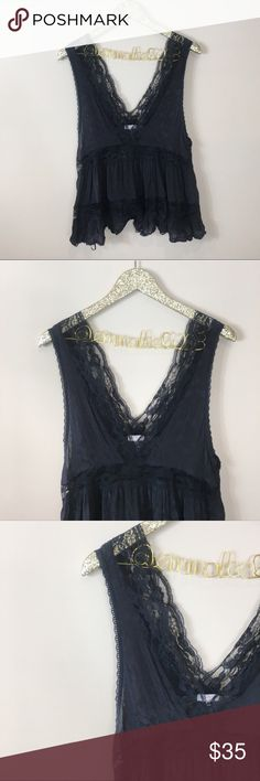 Free People Black Lace Tank Intimately Free People Excellent condition, worn once! Free People Black Lace Tank by Intimately Free People. Size M. So cute! Sheer - definitely requires a Bandeau or bra underneath. No modeling/trades. Free People Tops Blouses