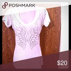 VS PINK White and silver angel wings v neck tee Like new white v-neck tee shirt with silver metallic angel wings on the front. From VS PINK. size XS PINK Victoria's Secret Tops Tees - Short Sleeve