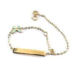 Βραχιόλι ταυτότητα πεταλούδα , χρυσό Κ14  0123 Jewels, Bracelets, Gold, Fashion, Moda, Jewerly, Fashion Styles, Bracelet, Gemstones