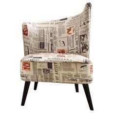 Georgina Left Swoop Accent Chair in Newspaper