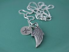 Angel Locket with Initial Hand Stamped Necklace $ 39.50