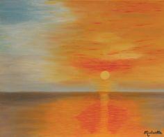 """Tableau """"Ciel flamboyant"""" - 38X46 cm - Peinture figurative à l'huile sur toile de Michaëlle Liefooghe : Peintures par l-michaelle"""