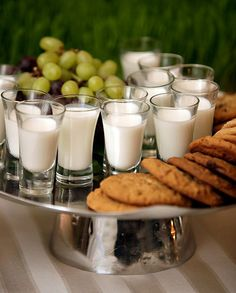 Love the idea of shot glasses of milk for a cookie bar!