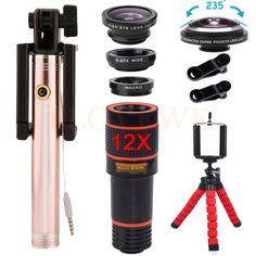 New Phone camera lens Kit 12X Telephoto Zoom Lenses 4in1 Wide Angle Macro lens 235 degrees Fisheye Lentes For iPhone Smartphone