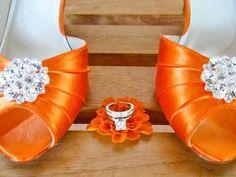Orange #Wedding #Shoes 1 3/4 Heel Choose Over 100 Shoe Colors - Choose Heel Height - Orange Peep Toe Crystal Wedding Bridal Shoes By Parisxox