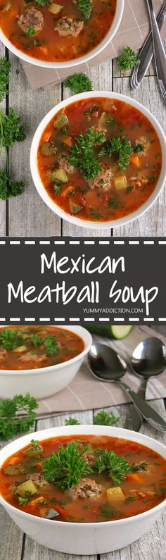 This Mexican meatball soup (Albondigas) is very hearty, quite easy to make and full of flavor - a warming dish for cold days! Mexican Meatball Soup, Mexican Meatballs, Veggie Meatballs, Meatball Recipes, Mexican Albondigas Soup Recipe, Meatball Stew, Parmesan Meatballs, Mexican Chicken, Mexican Food Recipes