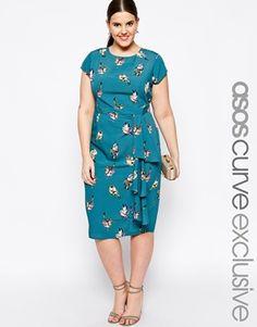 ASOS CURVE Exclusive Waterfall Dress In Bird Print