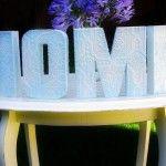 "DIY anaglypta ""home"" letters."
