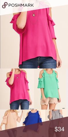 """🆕 Cold shoulder top with ruffle details COLOR: Hot pink (available in 5 gorgeous colors)  Features: Lightweight Non-sheer Material: 55% cotton, 45% polyester Model is 5'8"""" and is wearing a small. Slight hi low hem  Measurements:  Small: Size 2/4 Armpit to Armpit: 19"""" Bust: 35""""-36"""" Length front and back: 25"""" and 26""""  Medium: Size 6/8 Armpit to Armpit: 20"""" Bust: 37""""-38"""" Length front and back: 25.5"""" and 26.5""""  Large: Size 10/12 Armpit to Armpit: 21"""" Bust: 39""""-40"""" Length front and back: 26"""" and…"""