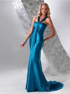 A-line Halter Sleeveless Floor-length Elastic Woven Satin Formal Dress with Sashes/Ribbons