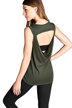 Laclef Womens Super Soft Knit Cowl Back Yoga Tank Top Large Olive * Details can be found by clicking on the image.