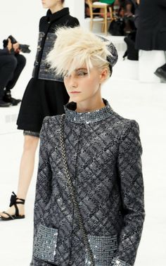 Blonde Short Hair at Chanel Fall/Winter 2014, Paris Couture Week