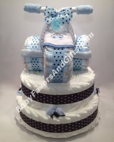 Tricycle Diaper Cake Base - Baby Boy Diaper Cakes - by http://Babyfavorsandgifts.com