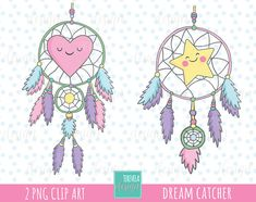 DREAM CATCHER Clipart set includes 2 cute graphics  PERSONAL AND SMALL COMMERCIAL USE  This clip art pack is perfect for scrapbooking, paper crafts, card design, stickers, party invitations ... and much more!  DOWNLOAD INSTANT / NO SHIPPING  You will receive: ★ 1 zip containing 2 Files (12 x12 approx | 300 dpi) in PNG format with transparent background   The file can be downloaded immediately after your payment is confirmed. The links will be sent to the email associated with your Etsy a...