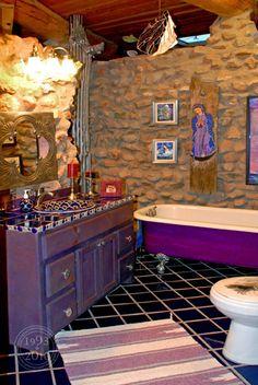 Purple Bathroom Mixed Textures Patterns
