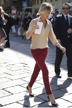 Tan blouse and cranberry jeans