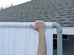 DIY PVC Pipe Privacy Screen: Distribute Fabric Gathers Learn how to make a folding outdoor privacy screen using PVC pipes and inexpensive bedsheets at HGTV.