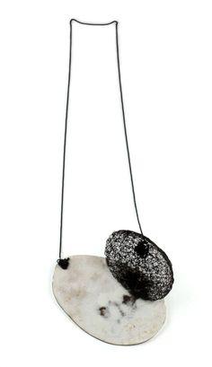 Satomi Kawai Necklace: Flowing In, 2013 Steel, pigment, copper, glass beads, gunmetal chain 11.5 x 11.0 x 4.0 cm, Total height: 46.0 cm Femininity II series  Satomi Kawai.  © By the author. Read    Klimt02.net Copyright   .