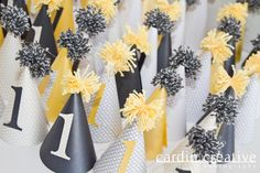 party hats, 1st birthday party, yellow and grey party decor, party ideas, Las Vegas party planner