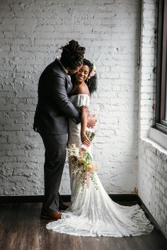 Indoor Wedding Portrait with natural light by a Window of an African American Black couple - Groom kisses the bride on the cheek - boho tropical inspiration by Honolulu, Oahu, Hawaii Wedding Photographer Wedding Shoot, Wedding Couples, Dream Wedding, Wedding Kiss, Bridal Shoot, Wedding Updo, Wedding Bells, Bridal Hair, Fall Wedding