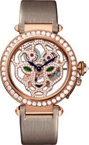 42 мм, розовое золото, ткань, бриллианты