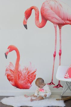 I'm not sure why exactly but these pink flamingo wall decals make me incredibly giddy.