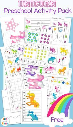 Fun free printable unicorn activities for kids. Toddlers and preschoolers will love the coloring pages, do a dot art, 3 part cards, puzzles, tracing and handwriting pages. via @funwithmama