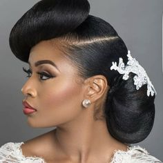 50 Short Wedding Hairstyles for Black Women 2019 We can imagine your excitement and desire to look awesome on the big day. The choice of a wedding hairstyle is as important as the choice of your brid. Wedding Hairstyles - May 11 2019 at Hairstyle For Wedding Day, Natural Wedding Hairstyles, Bridal Hair Updo, Natural Hair Updo, Short Wedding Hair, Bride Hairstyles, Black Women Hairstyles, Natural Hair Styles, Short Hair Styles