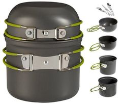 Wealers Cookware 7 Pieces Kit Cookset Backpacking Gear and Hiking Outdoors Cooking Equipment - Lightweight, Compact, and Durable Pot Pan Bowls - Free Folding Cutlery Set >>> Quickly view this special outdoor item, click the image : Camping gear Camping Checklist, Camping Essentials, Camping With Kids, Family Camping, Camping Hacks, Outdoor Camping, Camping Stuff, Camping Trailers, Beach House Decor
