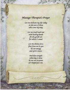 Massage therapist prayer: